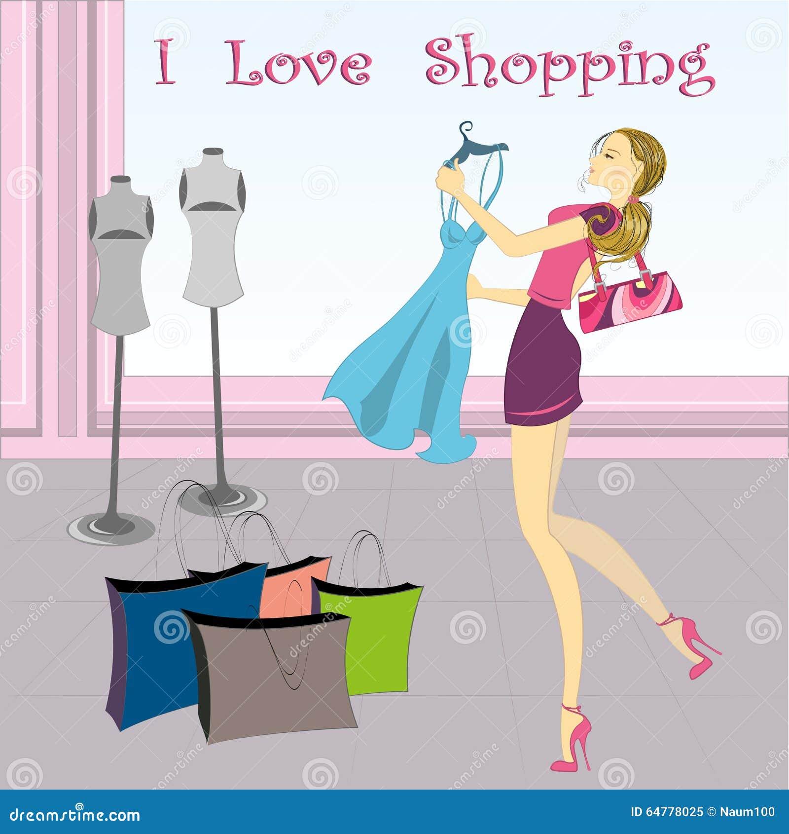 Shopping Girl, Vector Stock Vector - Image: 64778025
