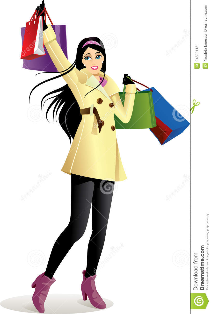 Shopping Girl In Yellow - Vector Illustration Royalty Free ...