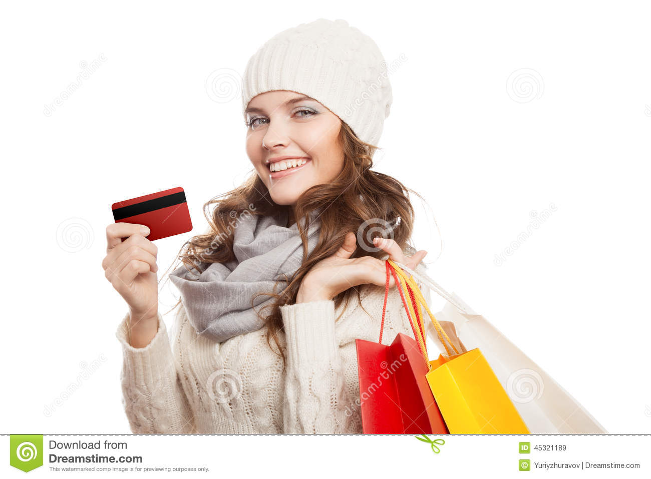 Popular Attractive Woman Holding Shopping Bags Stock Photo - Image 25656080