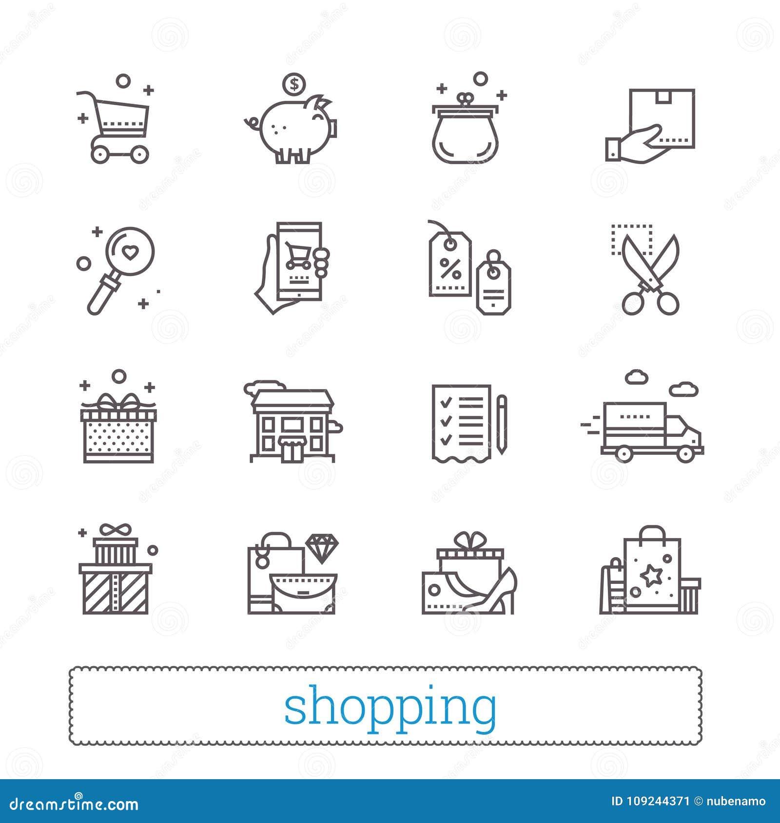Shopping kommers, återförsäljnings- tunn linje symboler Shoppa symboler: kuponger, wishlist, leveransspår, kassabaksida, gods och