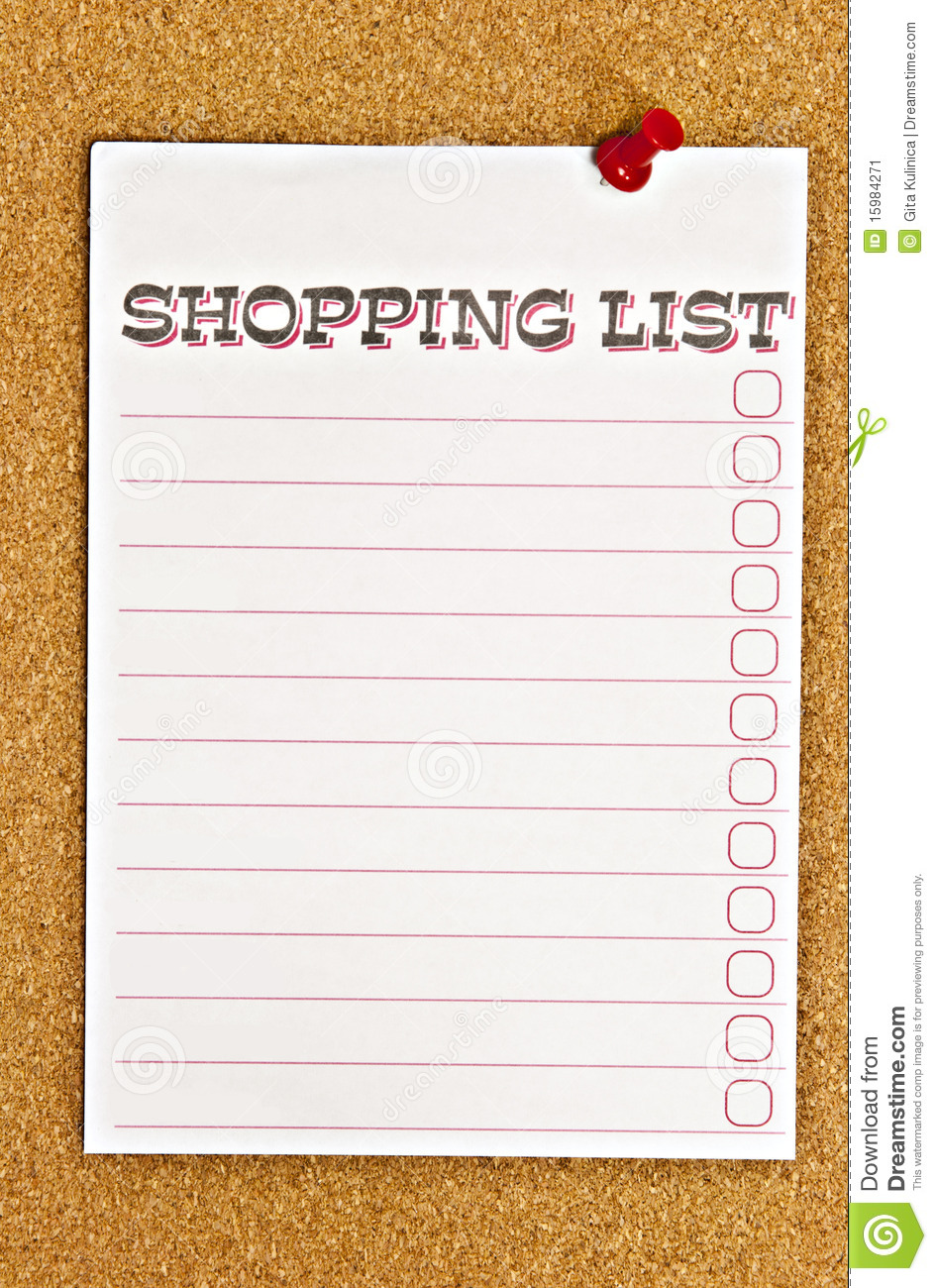 Shopping list and red thumbtack on cork bulletin board background.