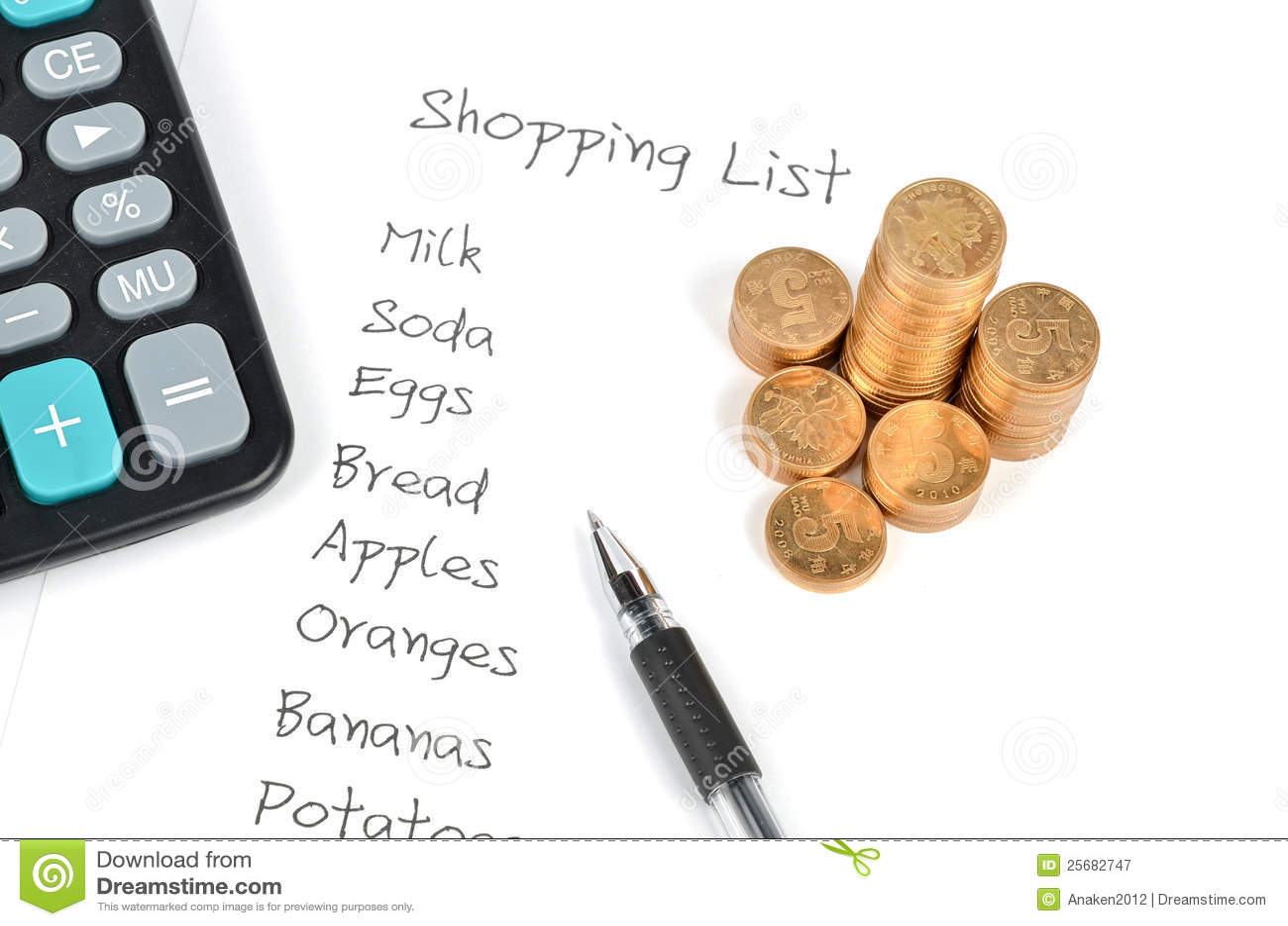 shopping list cost calculator