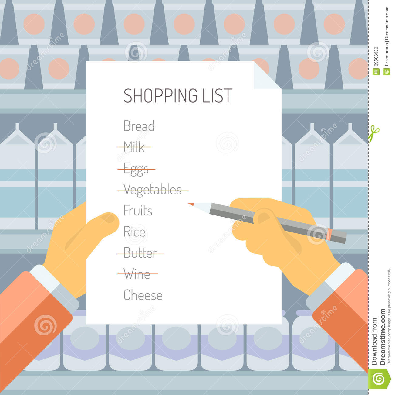 shopping list in supermarket flat illustration stock