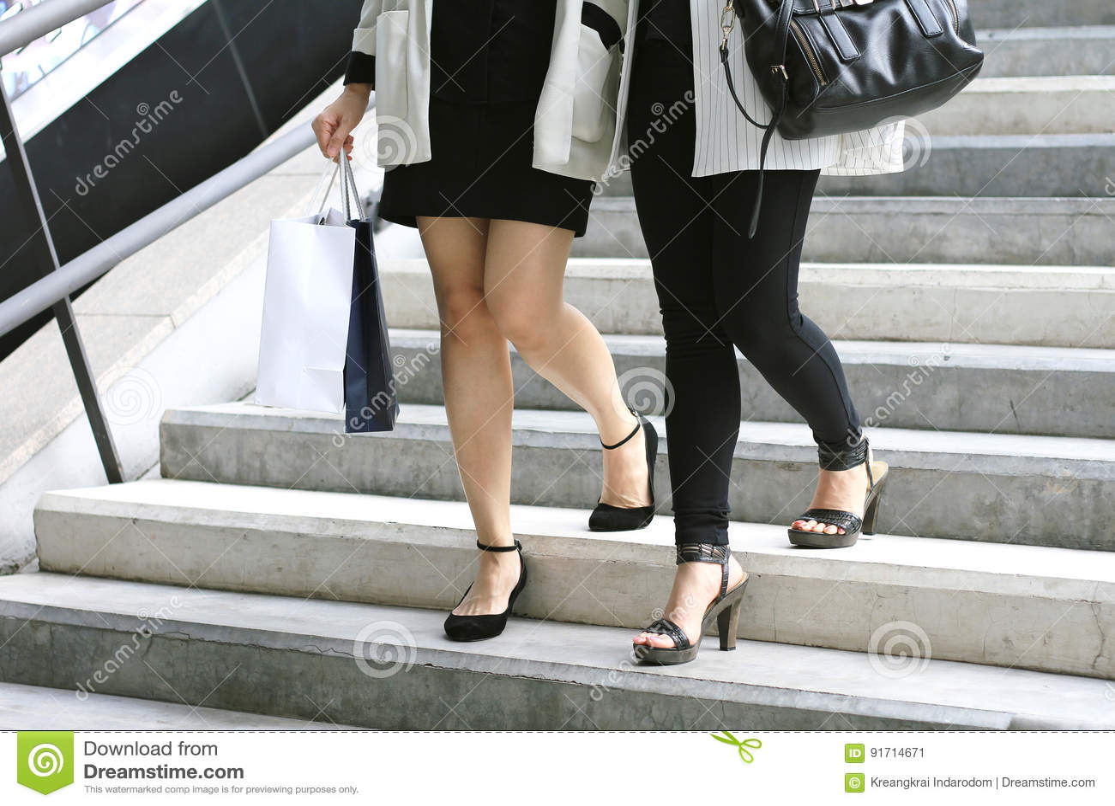 Shopping lover, Women holding shopping bags on the street.