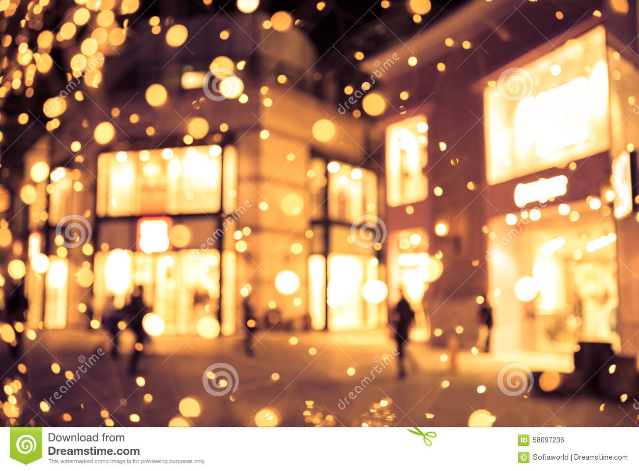 Shopping Mall Blur Background With Holiday Lights Stock ...