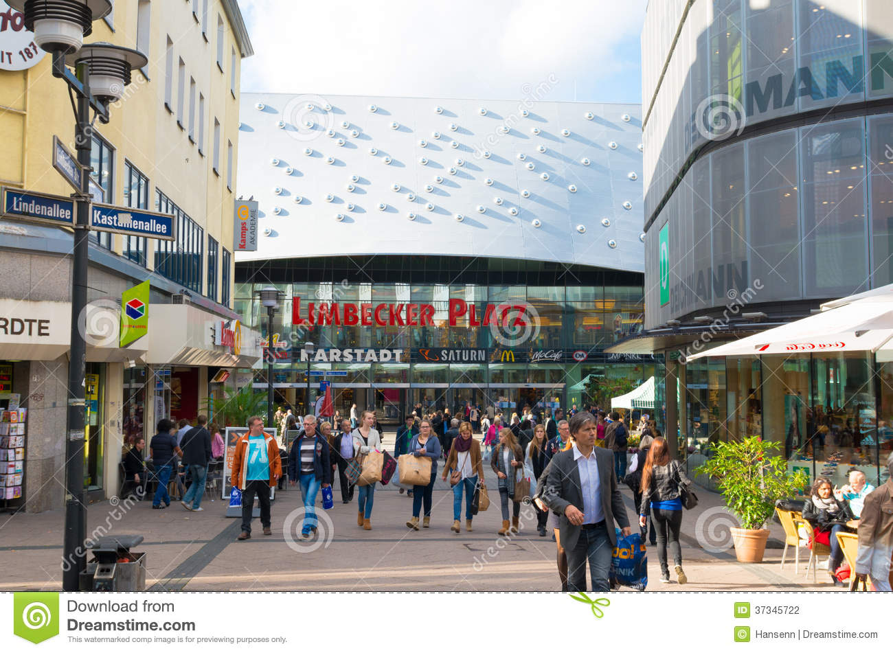 shopping mall in essen germany editorial photography image of people street 37345722. Black Bedroom Furniture Sets. Home Design Ideas