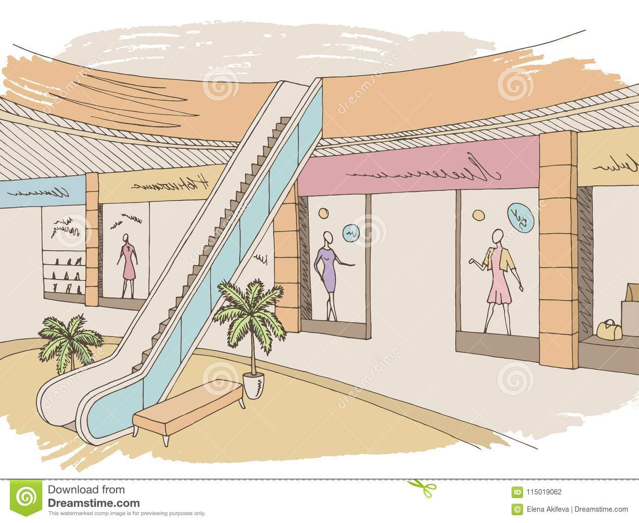 Shopping Mall Graphic Color Interior Sketch Illustration