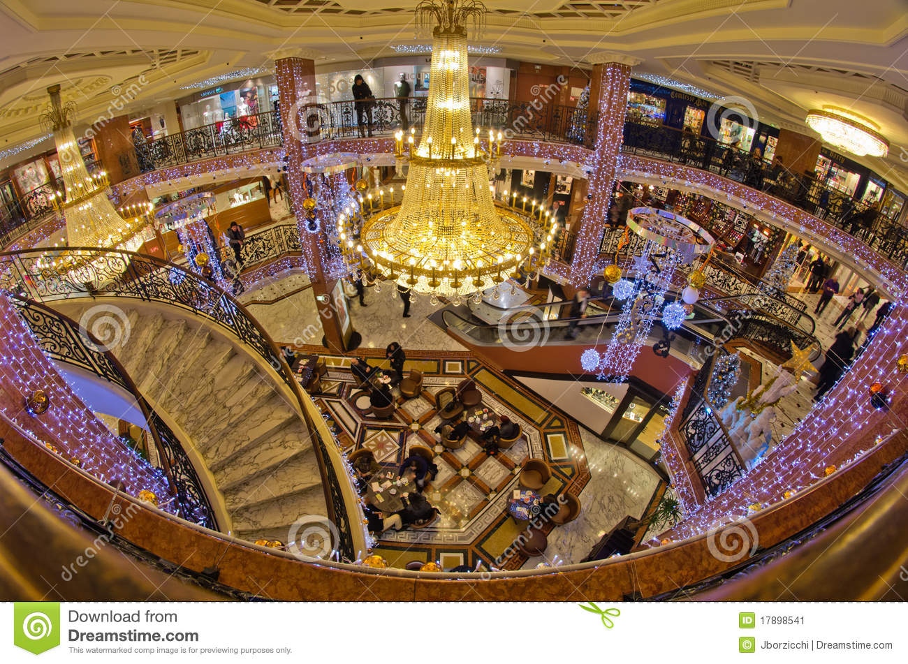 Luxury shopping mall with christmas decoration in montecarlo france