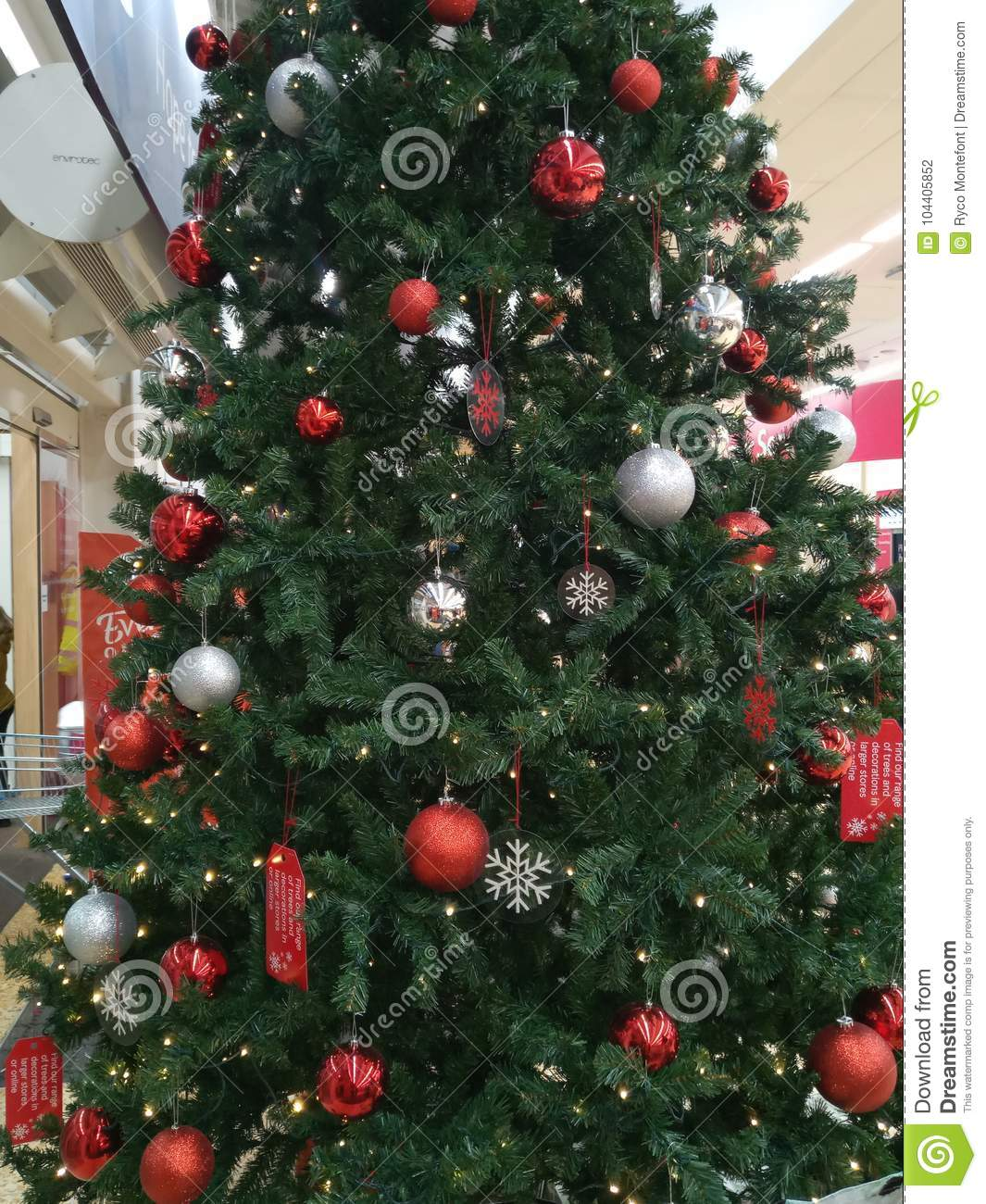 Christmas Decorations In Shopping Malls: Large Green Christmas Tree With Bright Coloured