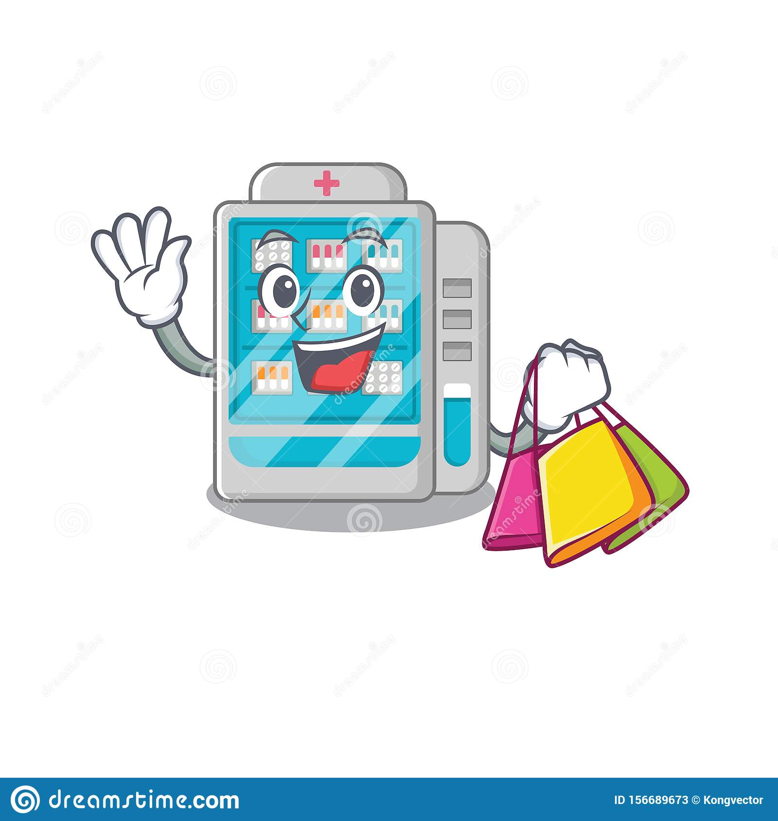 Shopping medicines vending machine in character shape