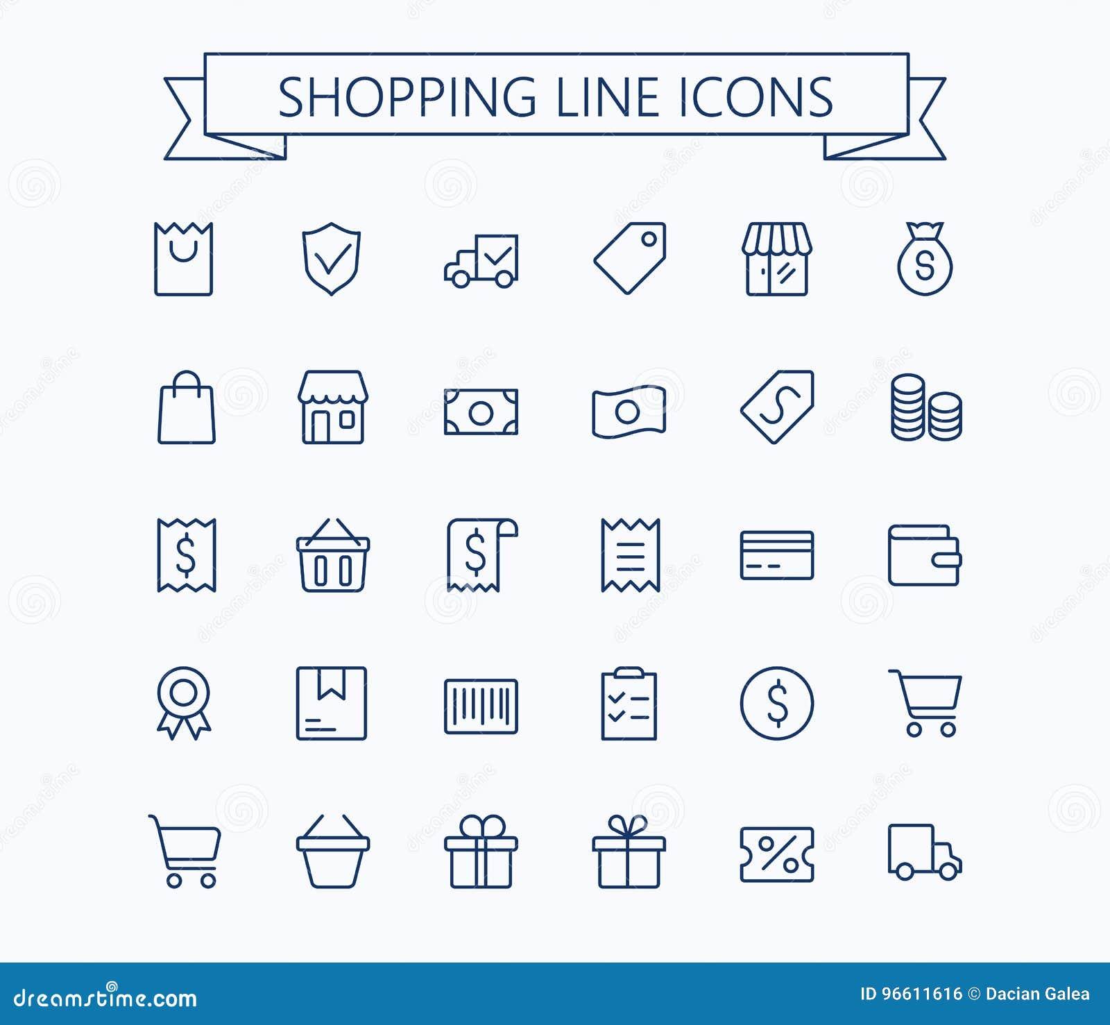 Shopping och uppsättning för E-kommers vektorminisymboler Tunn linje raster för översikt 24x24 Perfekt PIXEL