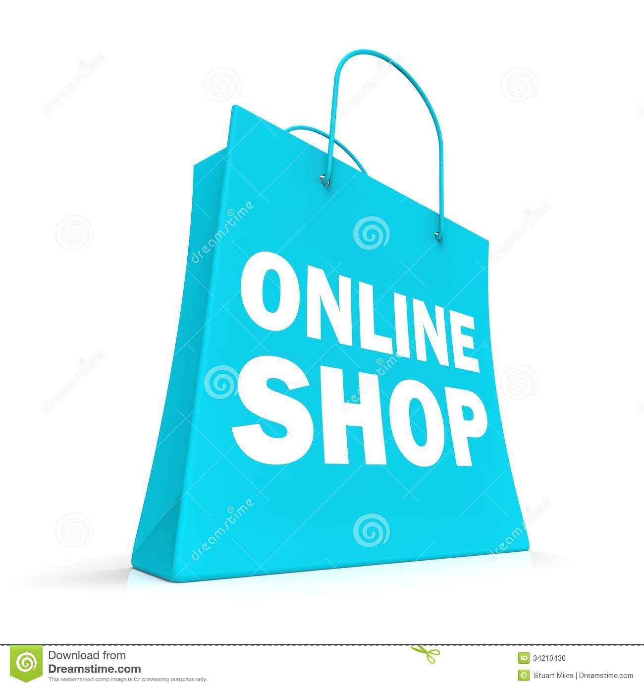 Shopping Online Bag Showing Internet Buying Stock Photo - Image ...