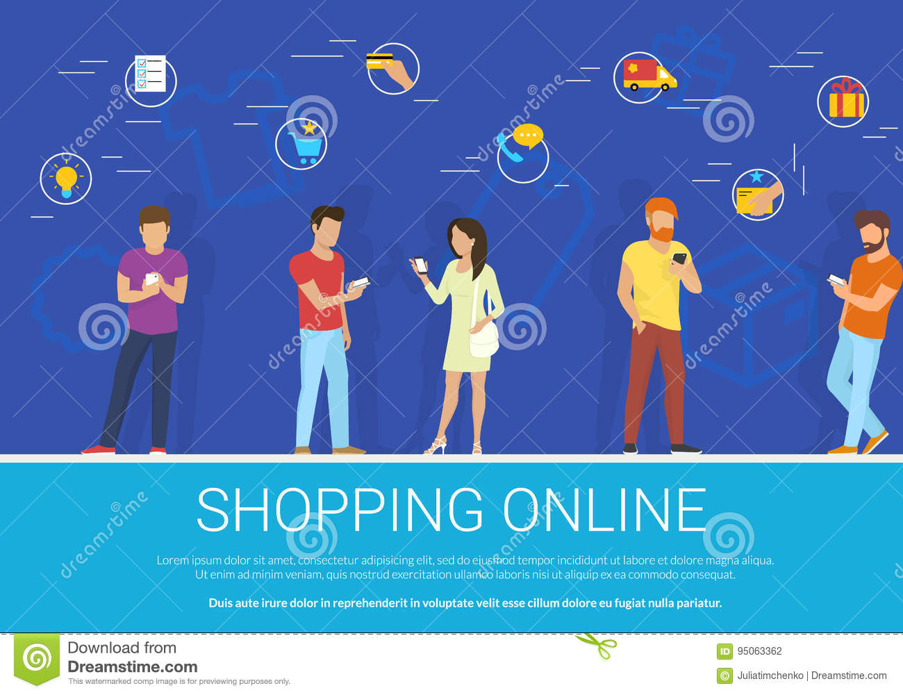 Shopping online concept vector illustration of group of people using mobile smartphone for purchasing goods