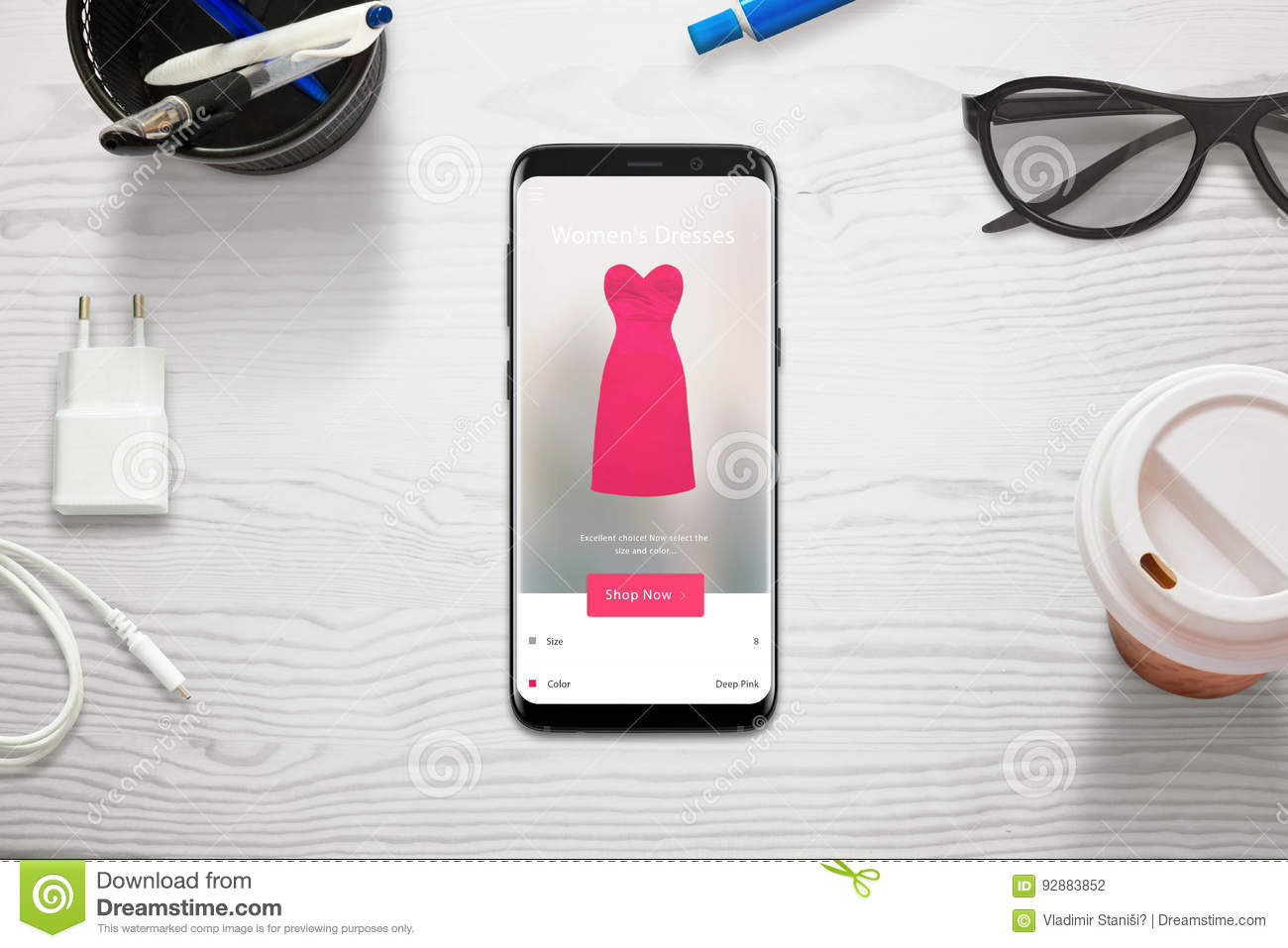 Shopping online with a mobile phone woman choose size and for Shopping online mobili
