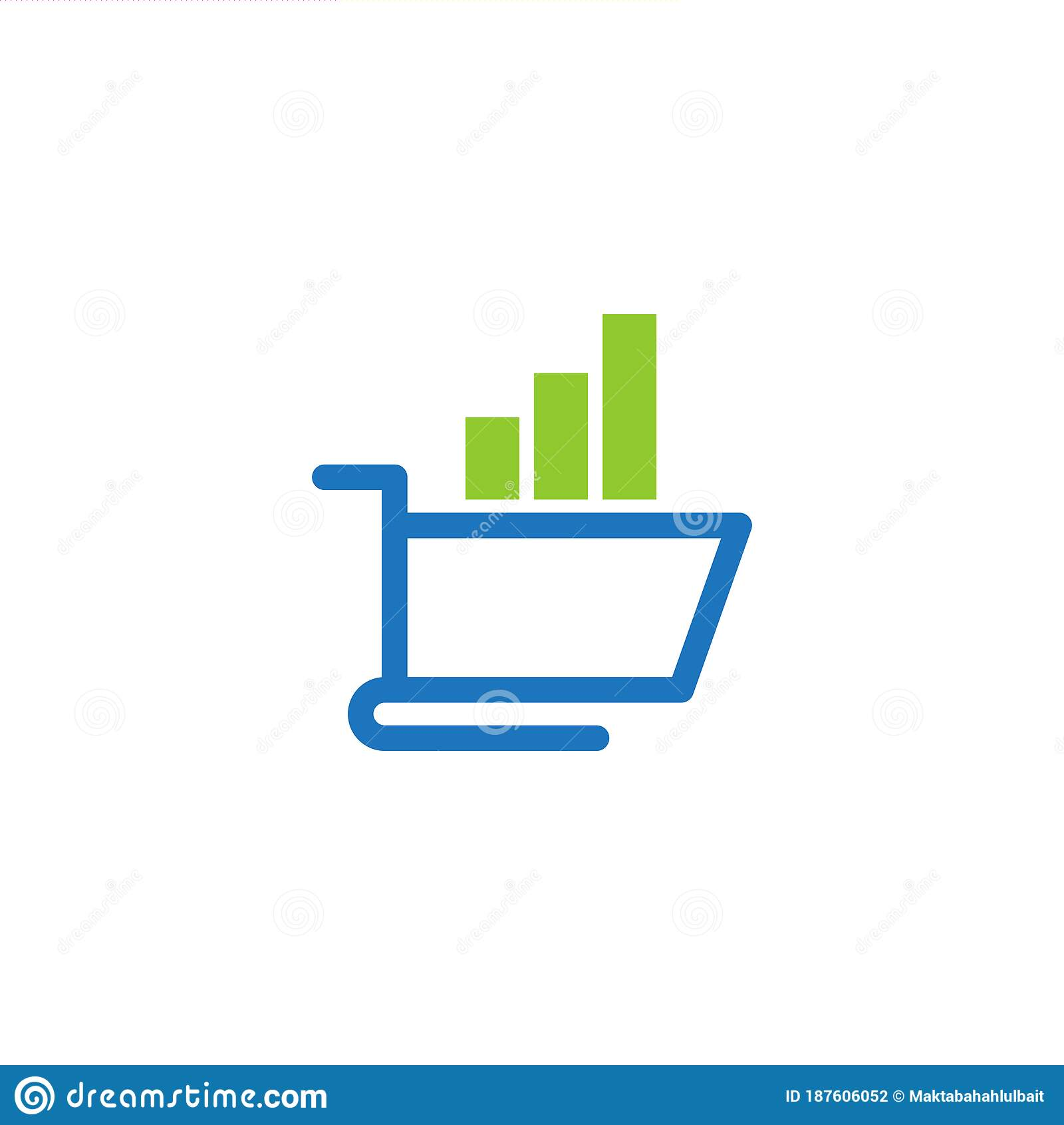 Creative Supermarket Logo Template: Shopping Online Shop Marketplace Buy Sell Statistic Cart