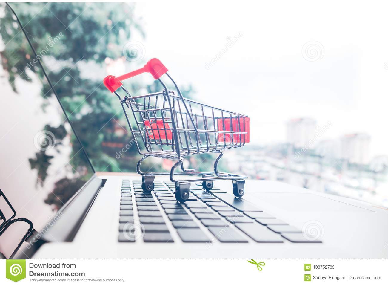 Shopping Online With Shopping Cart And Credit Card Concept Stock ...