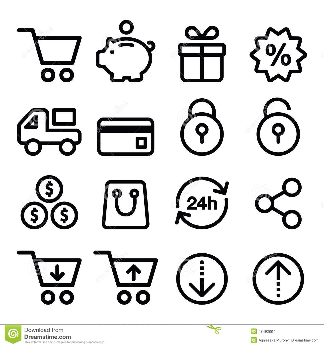 Shopping online store icons set line stroke style stock for Online retailer for sale