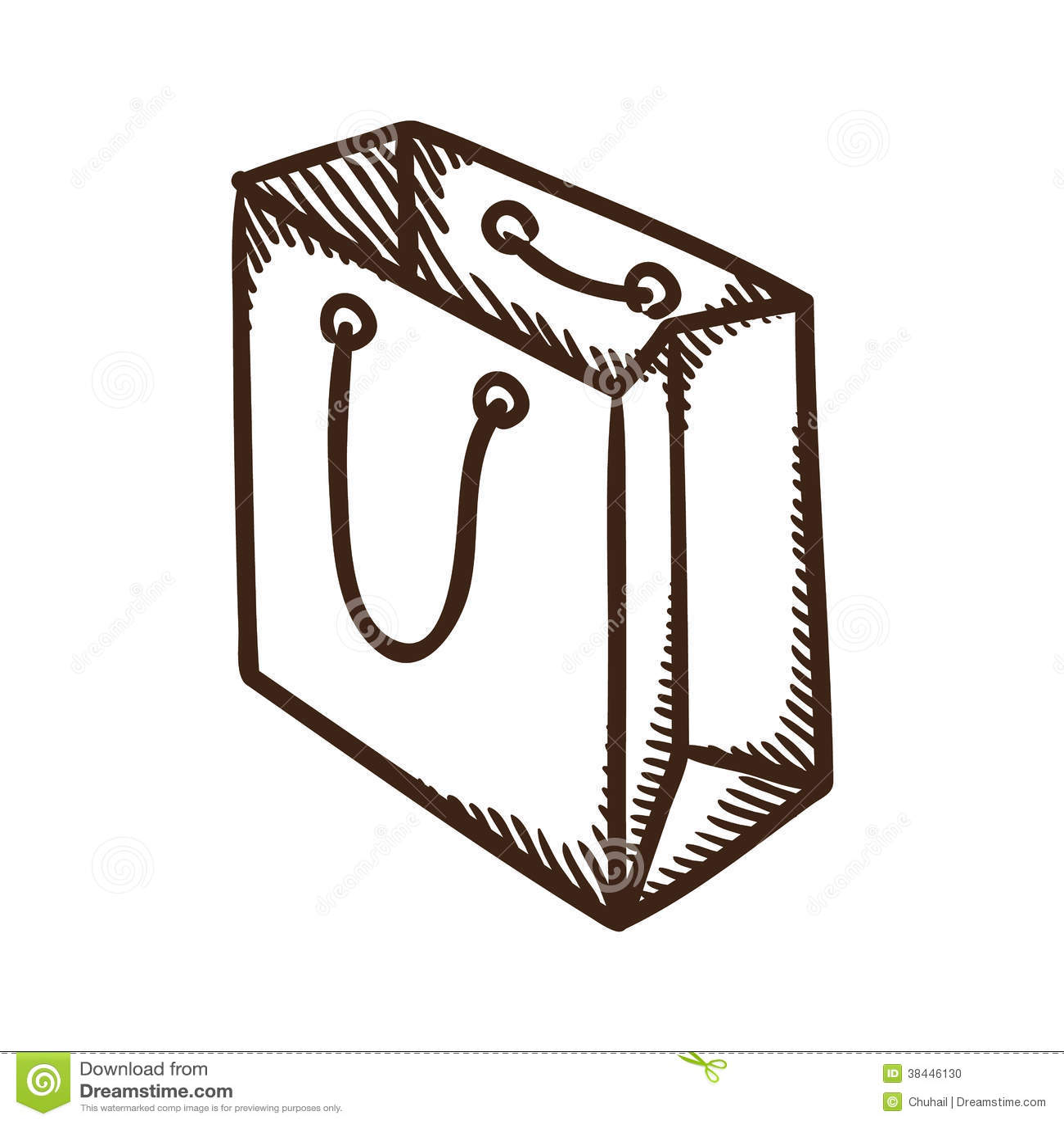 Paper bag sketch - Shopping Paper Bag Symbol