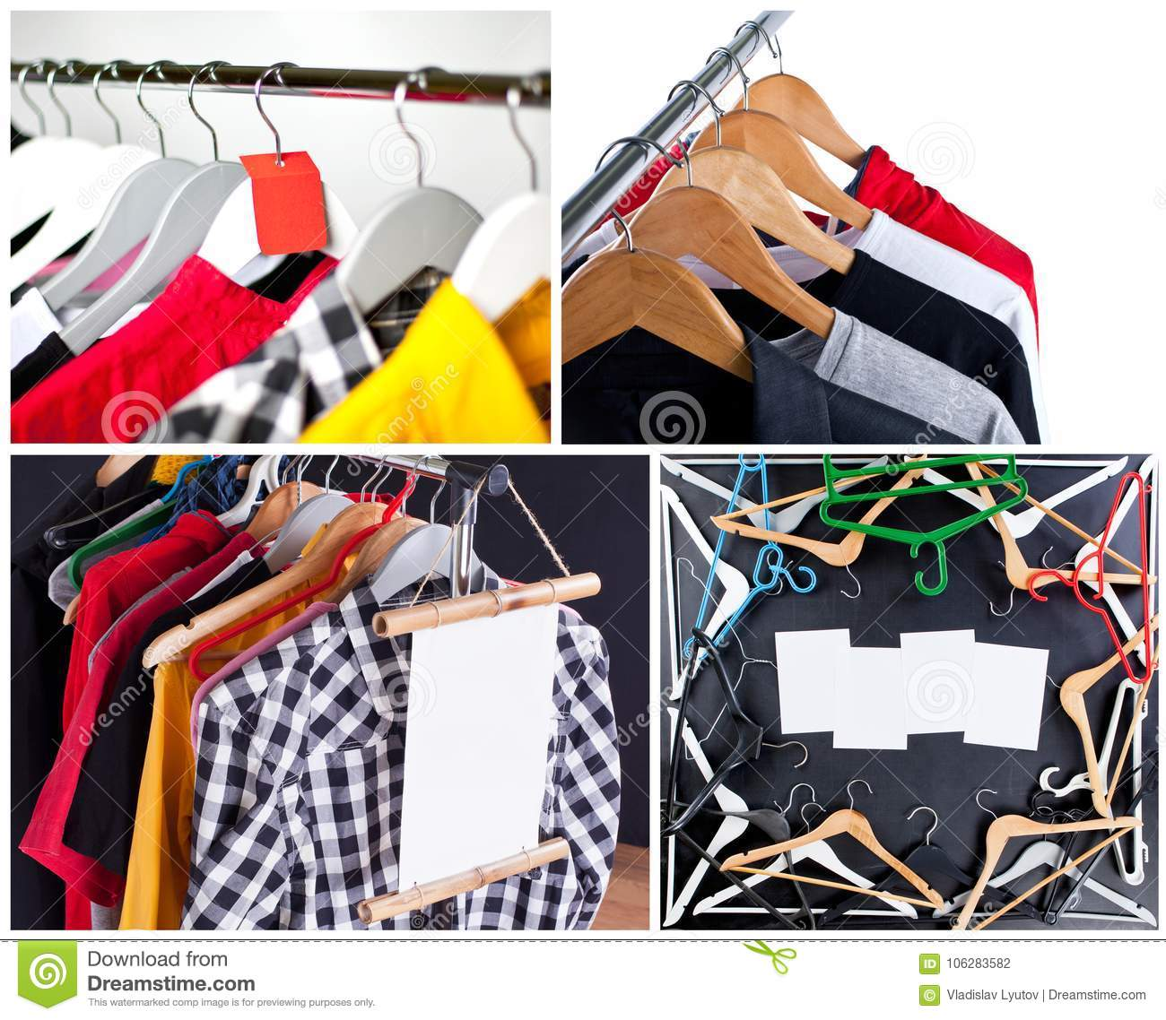 64101fd4d Shopping sale concept. Sale in a clothing store - discount sign at a clothes  rack