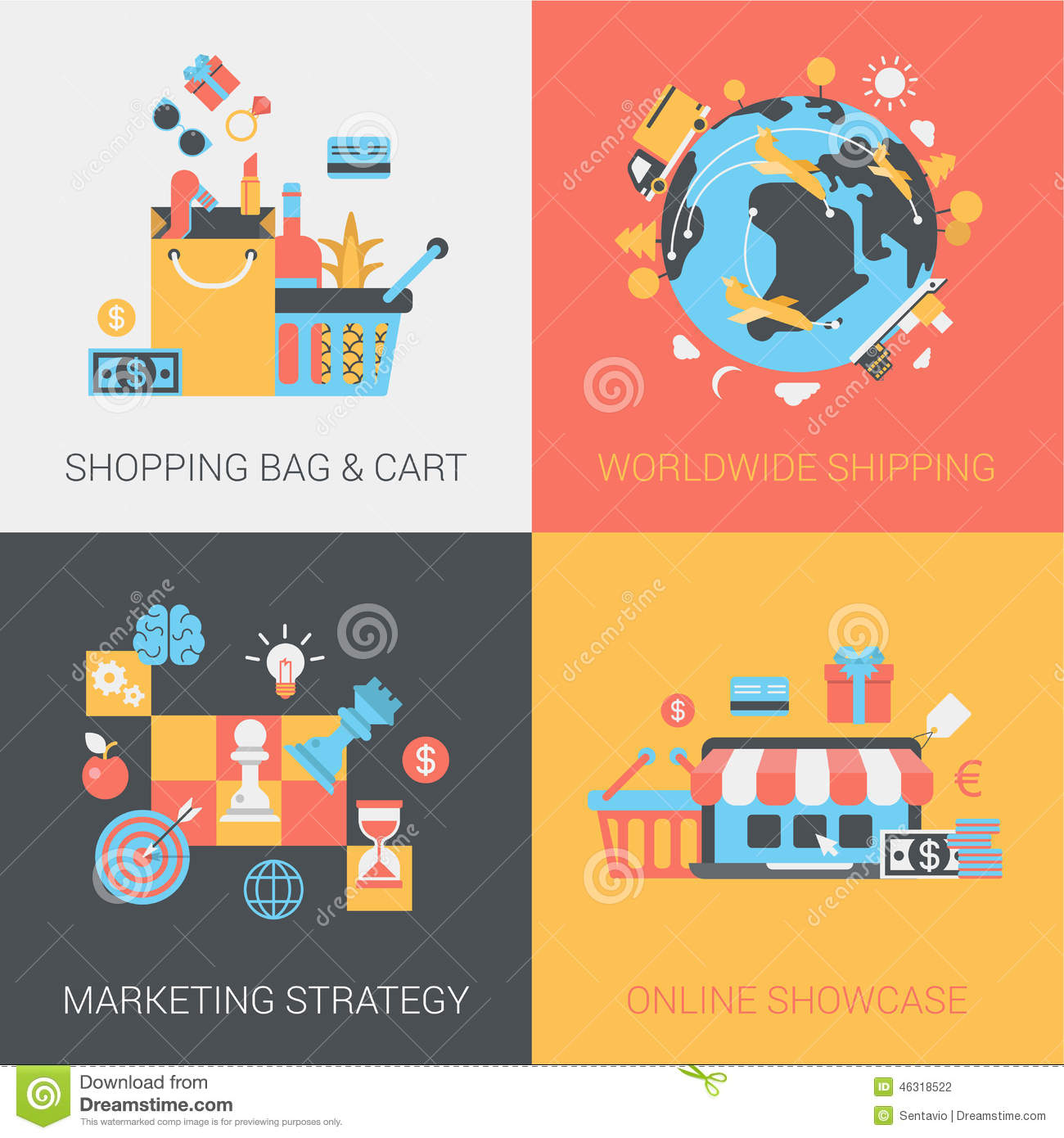 shopping shipping marketing strategy and online store flat set