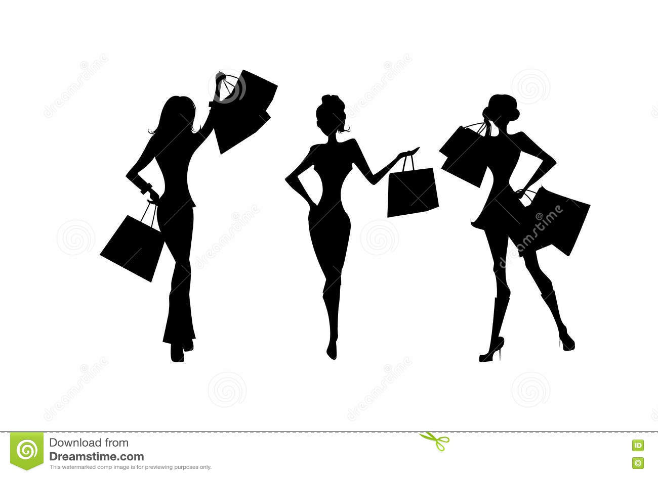 c942ee73c67 Shopping silhouettes set. stock vector. Illustration of illustration ...
