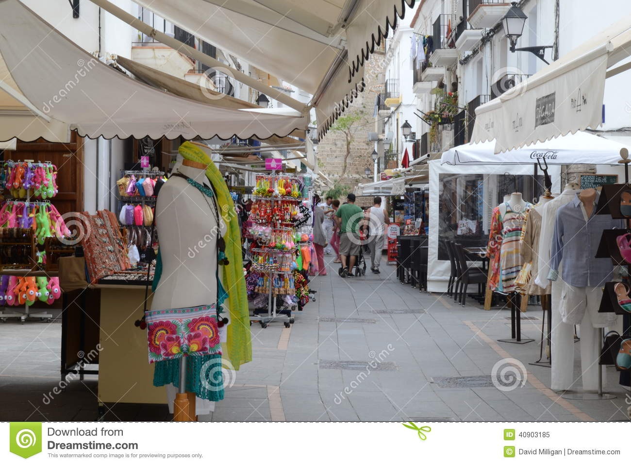shopping street ibiza old town spain editorial image image of shoppers shop 40903185. Black Bedroom Furniture Sets. Home Design Ideas