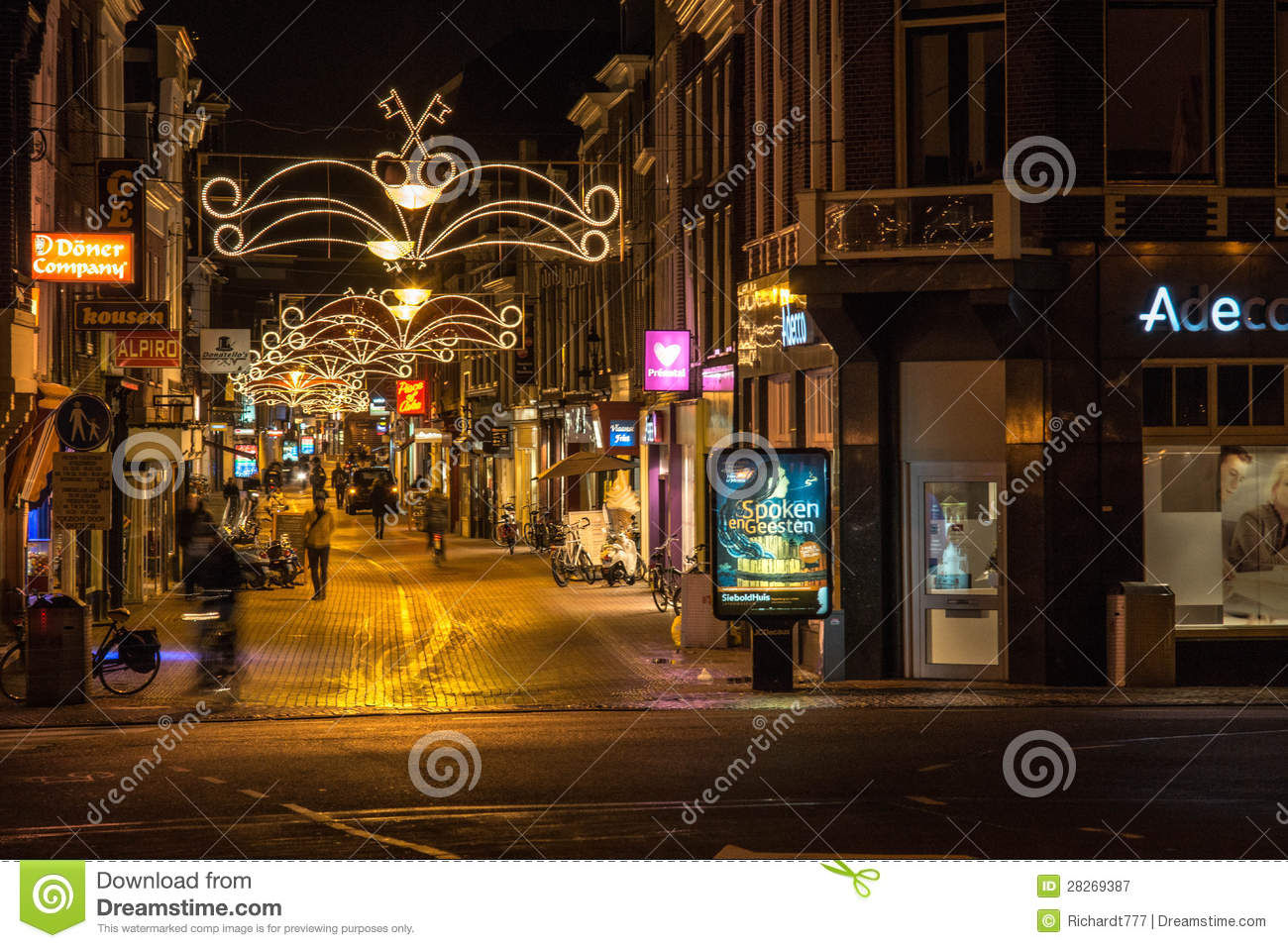 Shopping Street In Leiden At Night Editorial Photography Image of