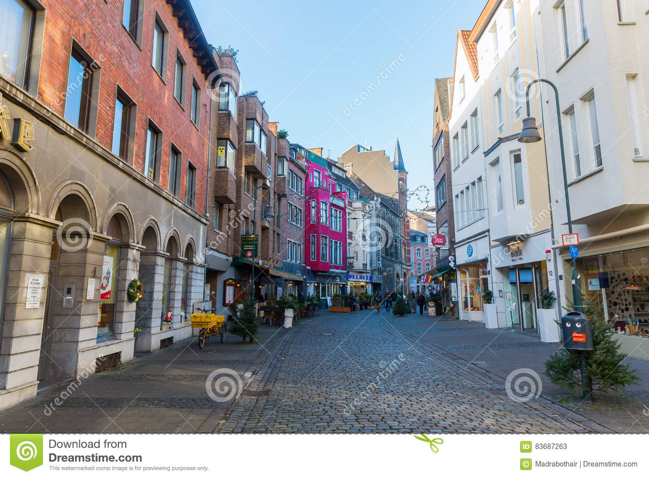 Shopping Street Schmiedstrasse In Aachen Germany