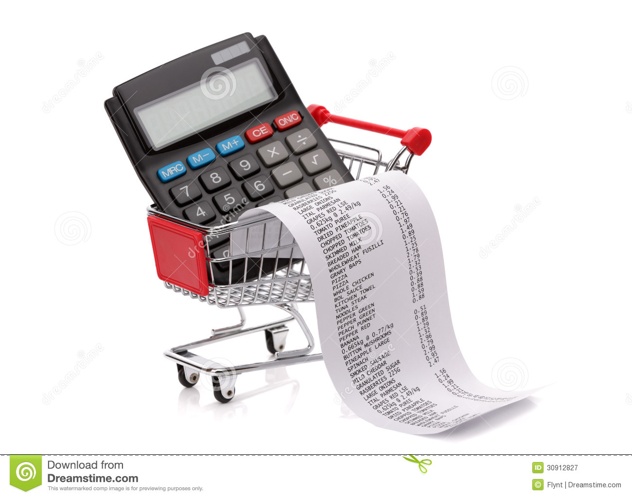 Royalty Free Stock Photography: Shopping till receipt, calculator and ...