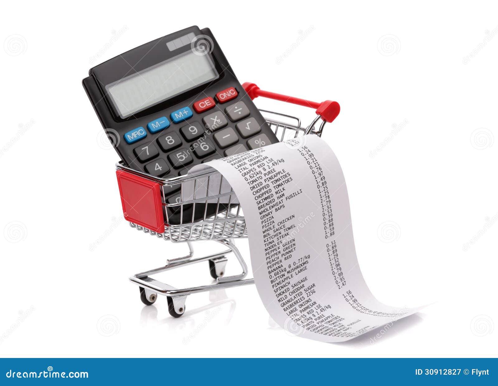 shopping till receipt  calculator and cart royalty free