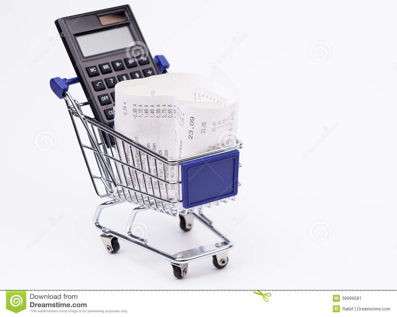 shopping till receipt calculator and cart stock photo