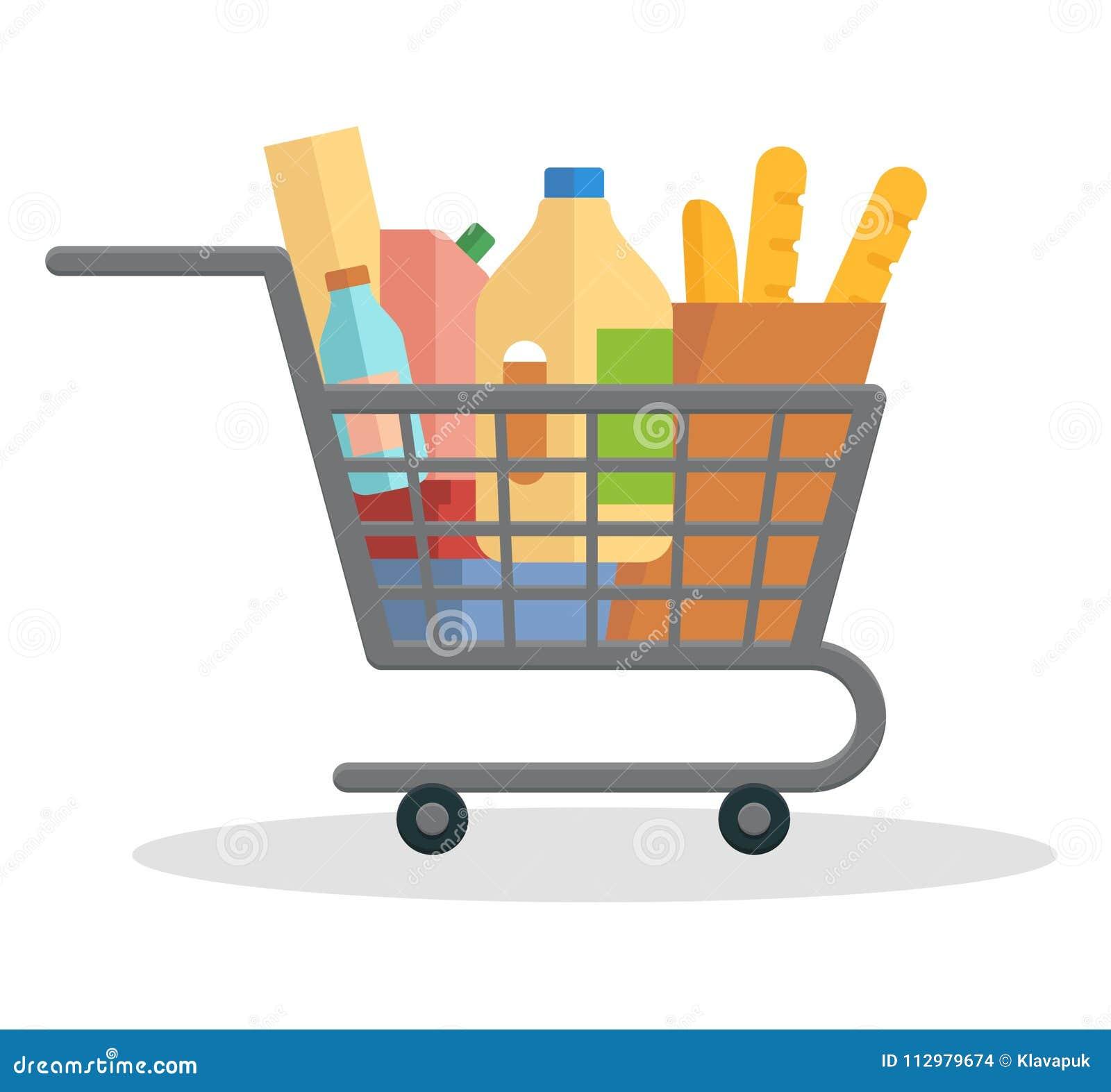 Shopping trolley full of food