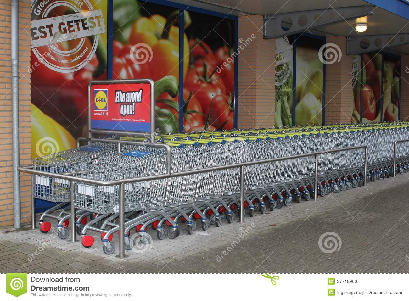 shopping trolleys of the discount lidl supermarket