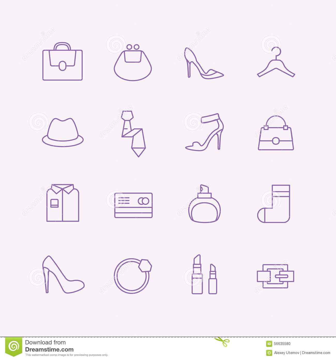 Shopping Vector Icons Set Fashion Symbols Stock Vector Image 56635580