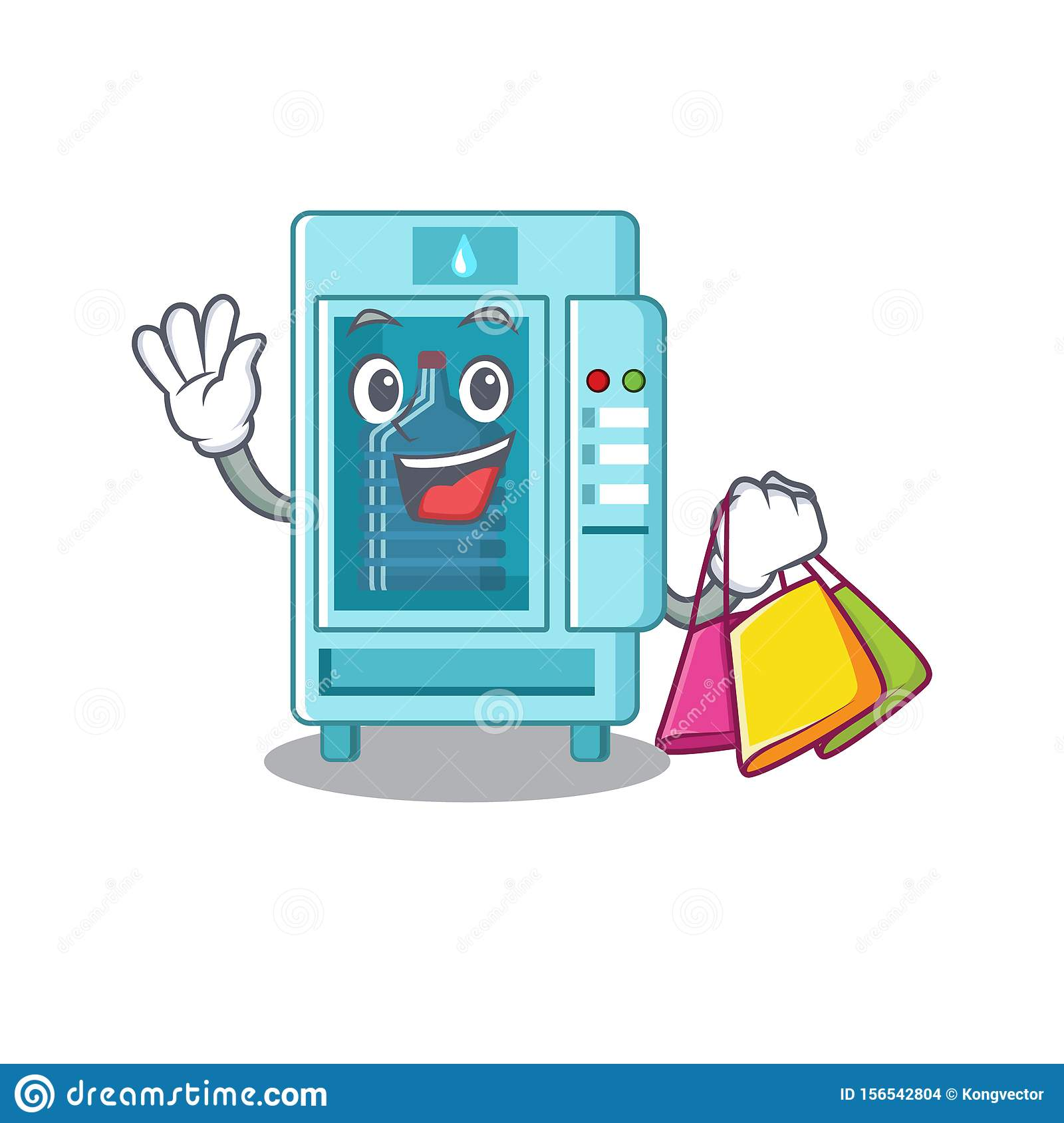Shopping water vending machine in a character