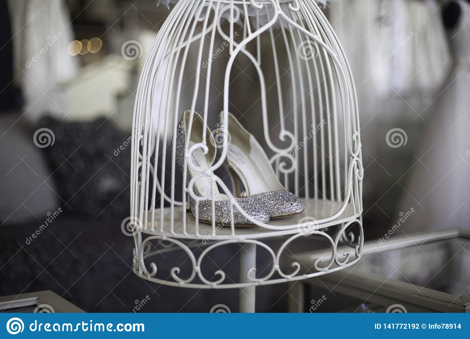 Shopping For Wedding Shoes In A Cage Stock Photo Image Of Shoes
