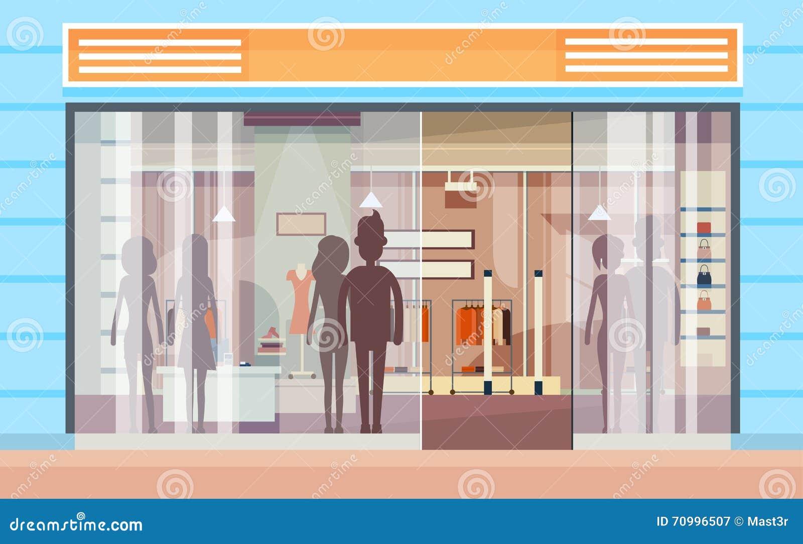 Shopping window modern luxury shop exterior stock vector for Shops exterior design