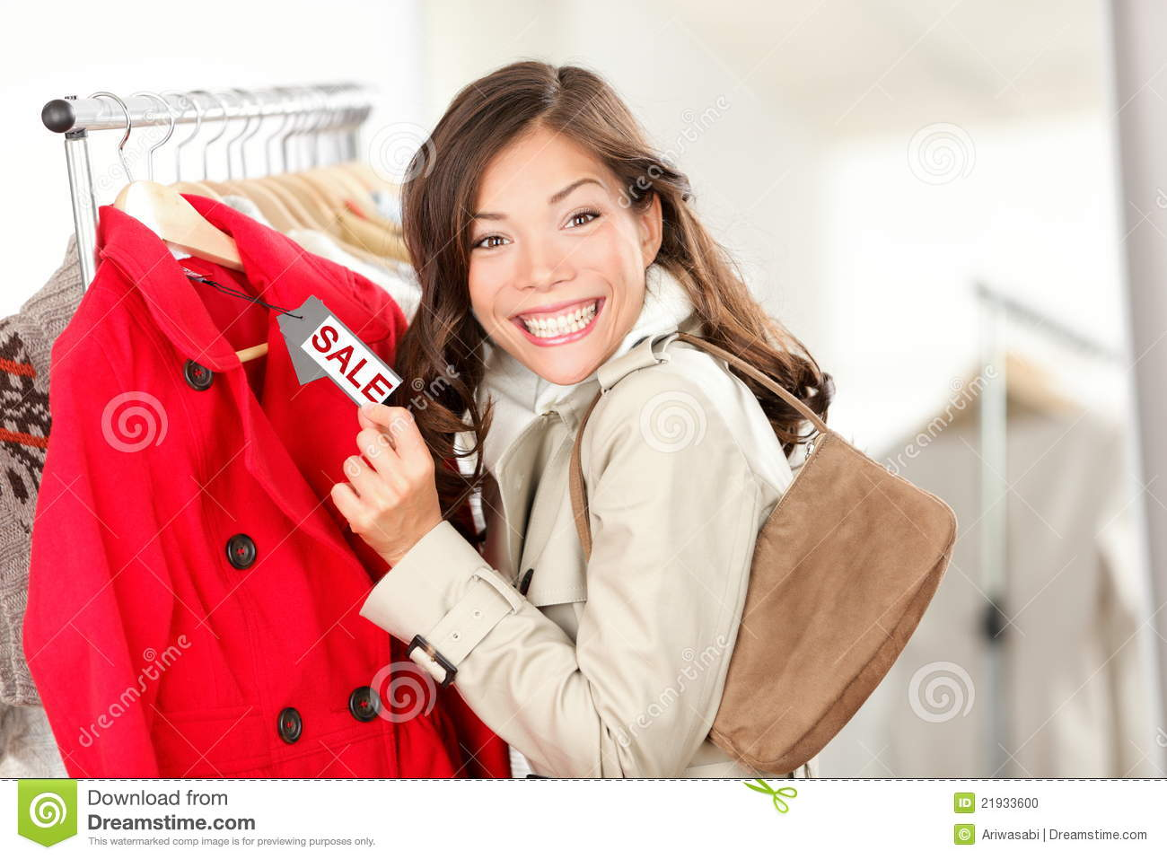 c3b3442c32 Shopping Woman At Clothes Sale Stock Photo - Image of cheap, person ...