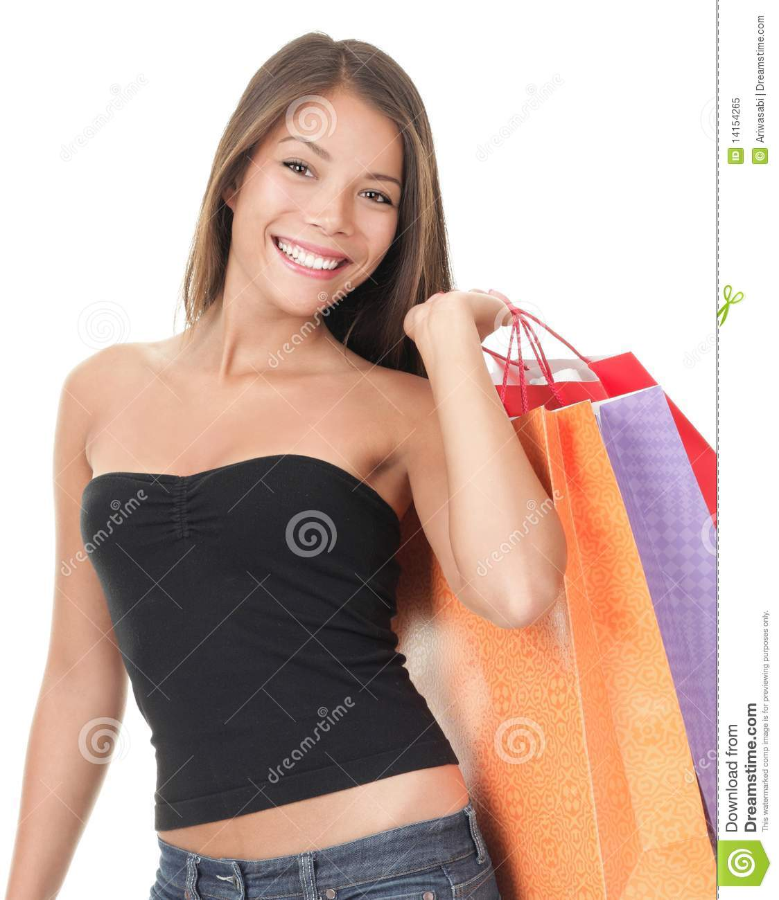 Beautiful Woman Holding Shopping Bags And Travel Suitcase Stock Photo - Image 52260450