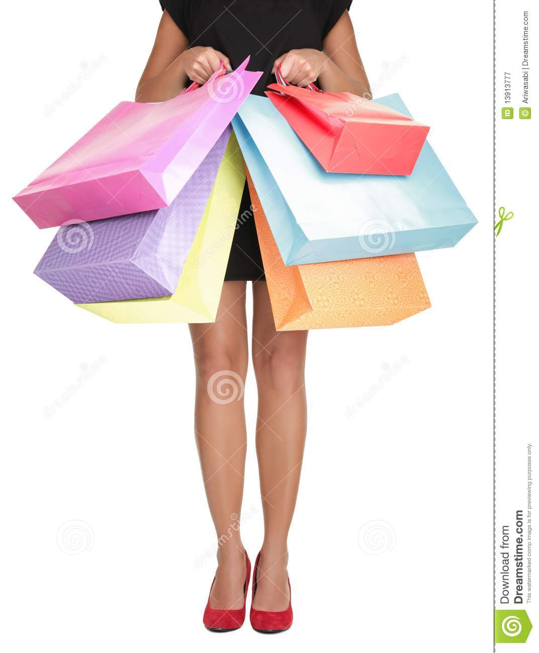 Perfect Young Woman Holding Shopping Bags Royalty Free Stock Photography - Image 20327957