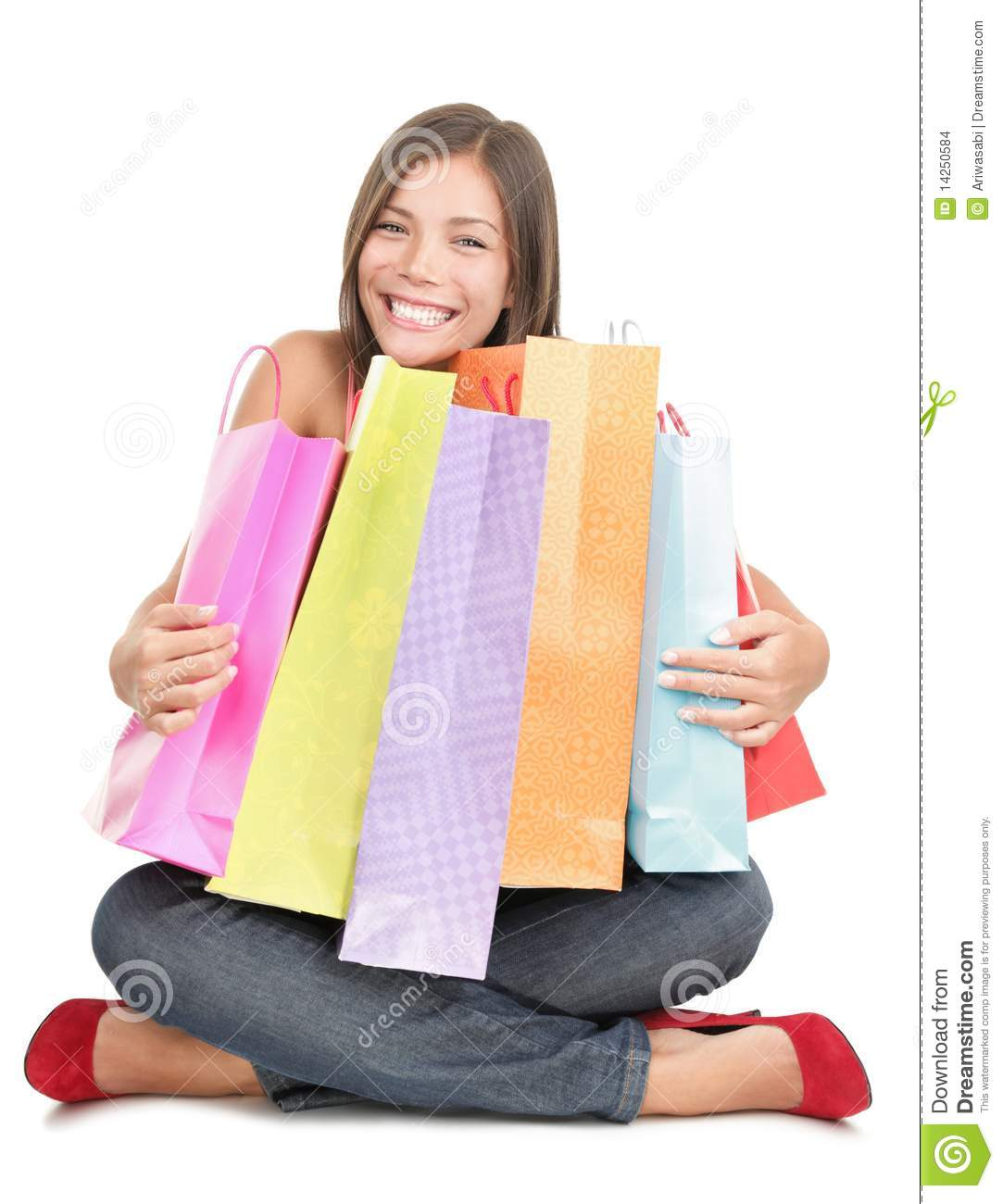 Shopping Woman Holding Shopping Bags Stock Images - Image: 14250584
