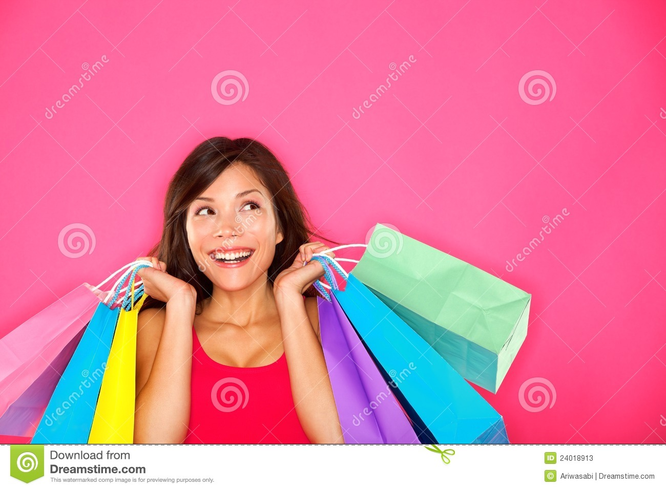 Model Shopping Woman Holding Shopping Bags Royalty Free Stock Photography - Image 13913777