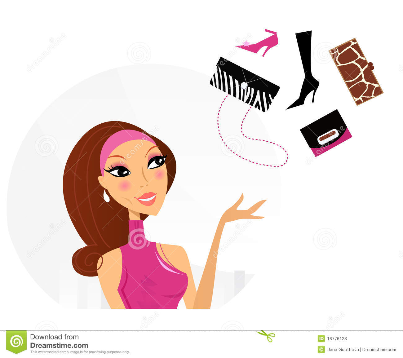 What To Buy: Shopping Woman Making Decision What To Buy Royalty Free