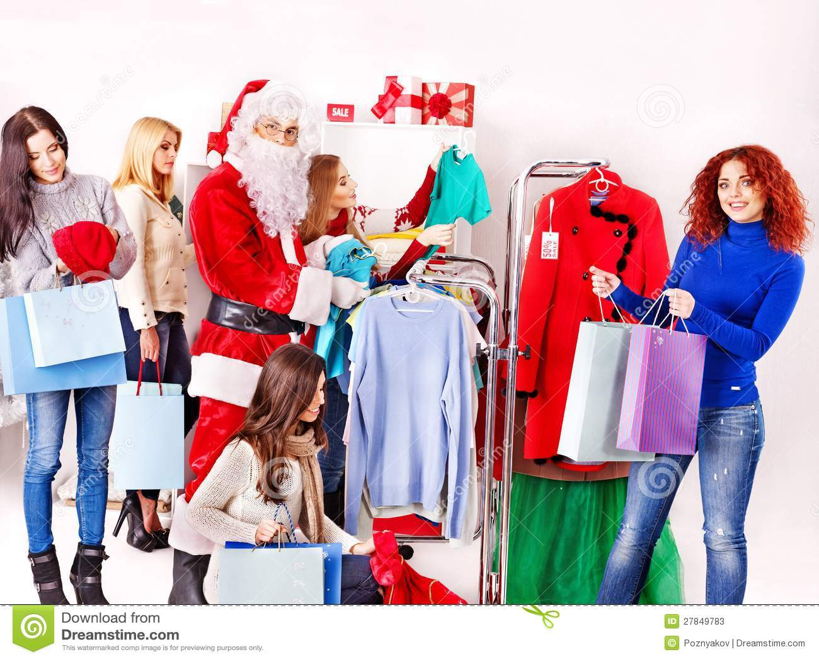 Shopping Women At Christmas Sales Stock Photos Image