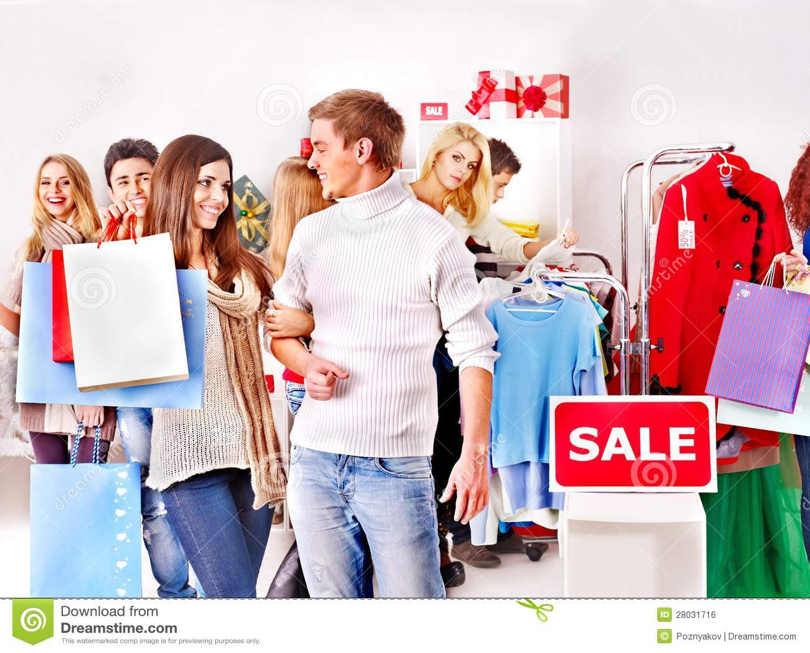 Shopping Women At Christmas Sales Royalty Free Stock