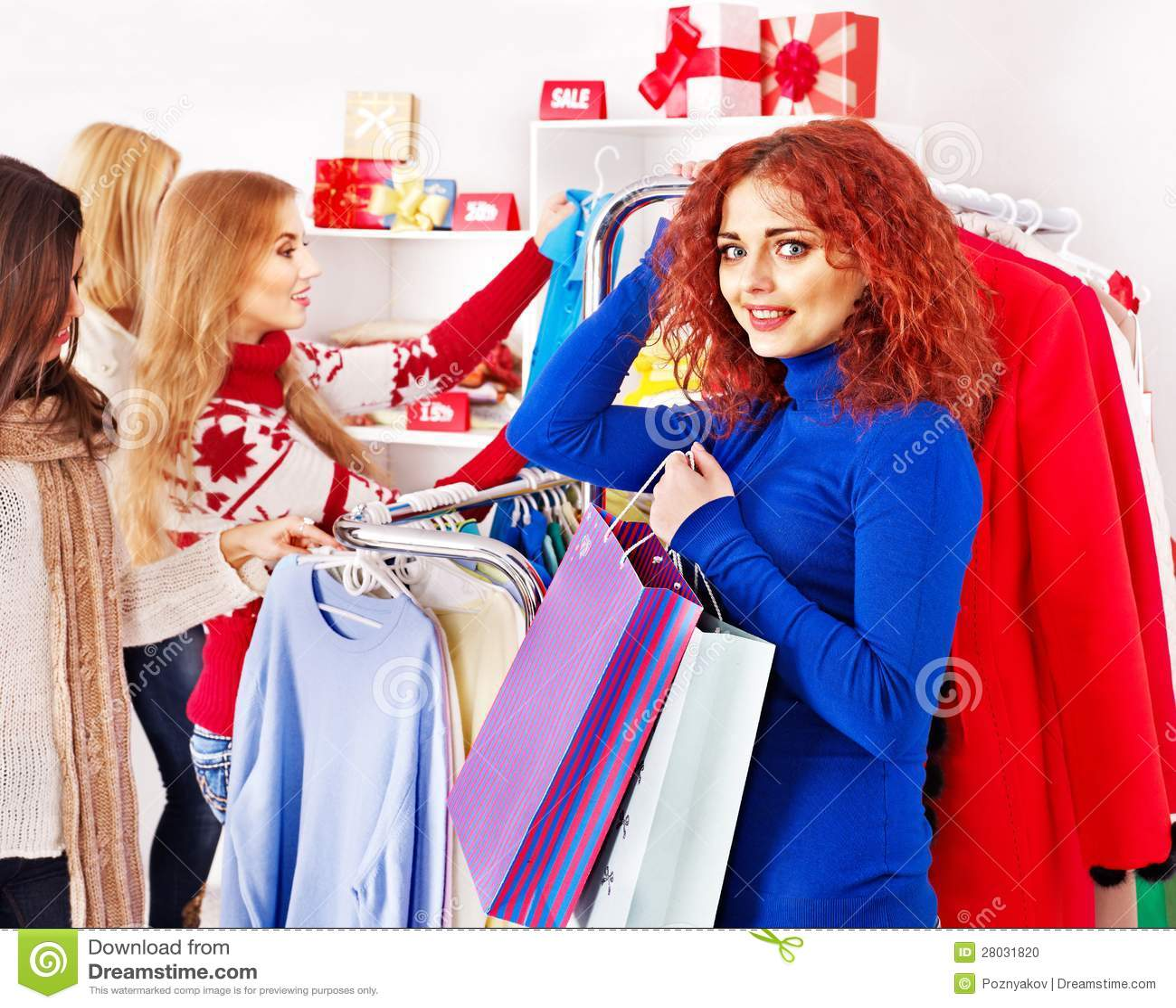 Shopping Women At Christmas Sales Stock Photo Image