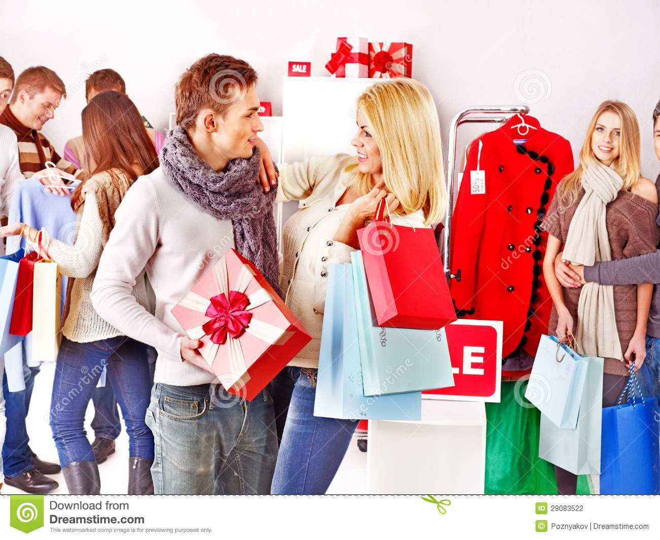 f116526c26 Shopping Women At Christmas Sales. Stock Photo - Image of coathanger ...