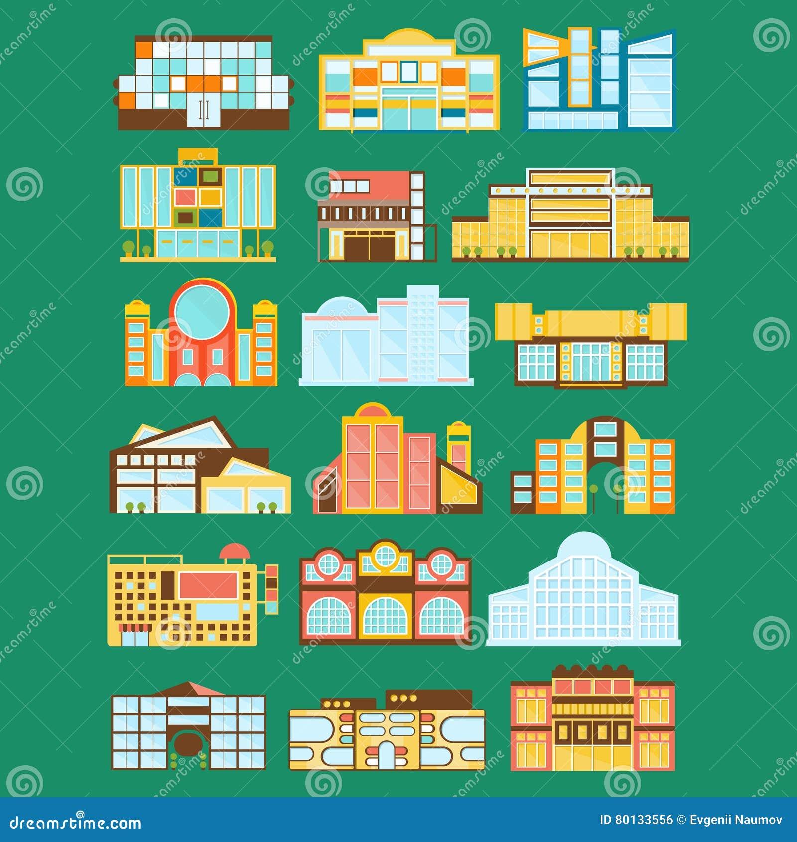 Shoppinggallerian, varuhuset och supermarket shoppar arkitekturidéuppsättningen