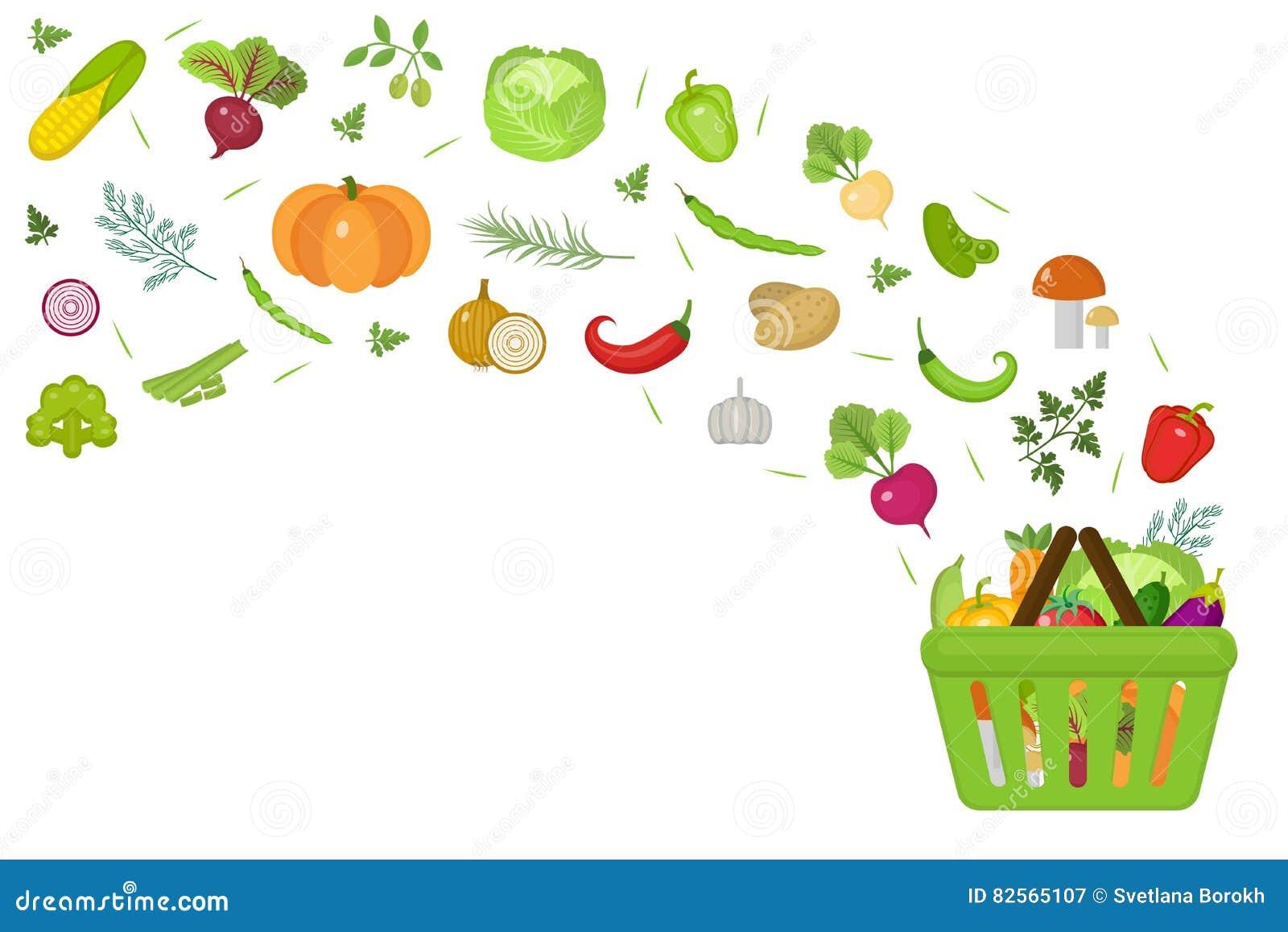 Shoppingkorg med nya grönsaker Plan design Banerutrymme för text som isoleras på vit bakgrund Sunt