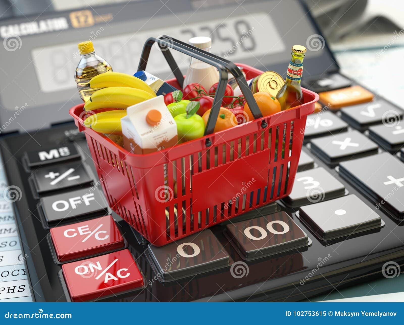 Shoppingkorg mycket av livsmedelsbutikfoods på räknemaskinen Besparingar di